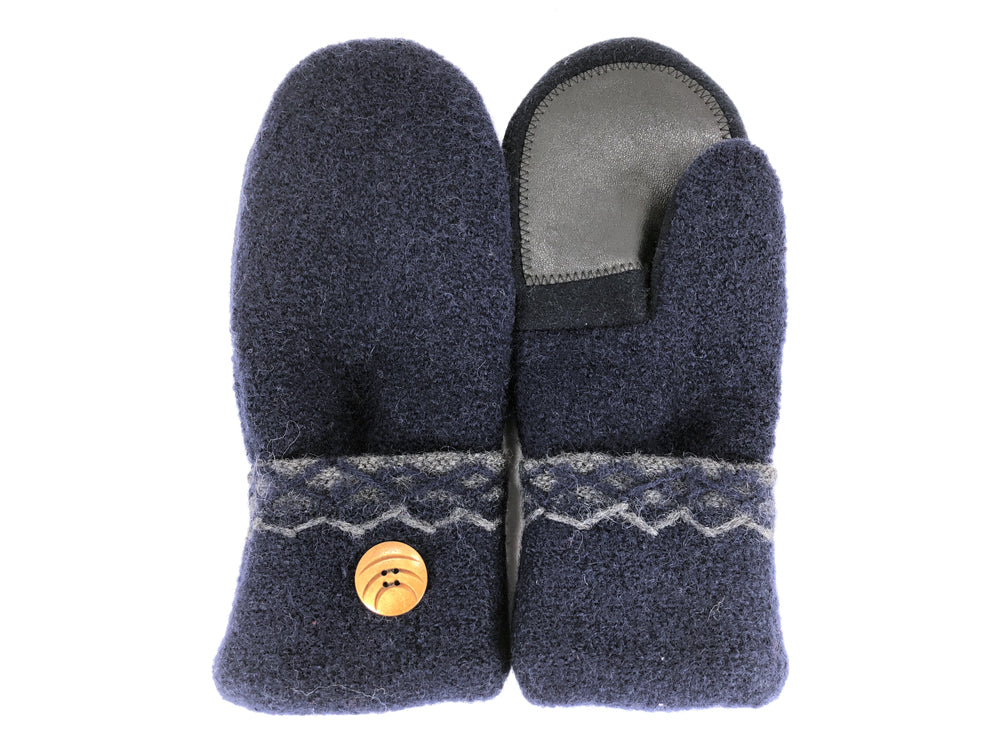 Blue Boiled Wool Women's Drivers Mittens - Large - 2291