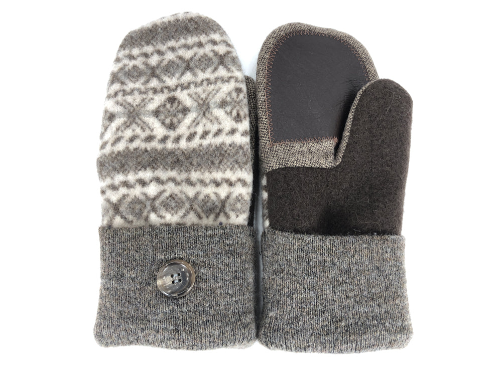 Brown-Tan Boiled Wool Women's Drivers Mittens - Large - 2292