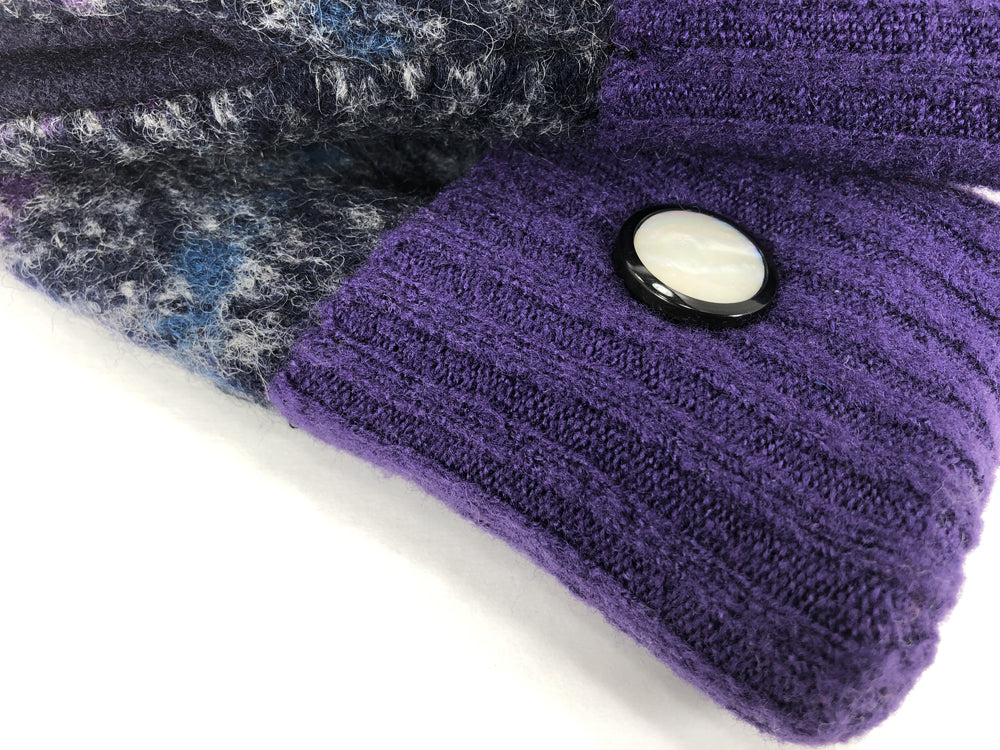 Purple-Gray Boiled Wool Women's Drivers Mittens - Large - 2293