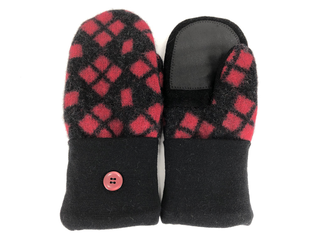 Black-Red Boiled Wool Women's Drivers Mittens - Large - 2294-Womens-The Mitten Company