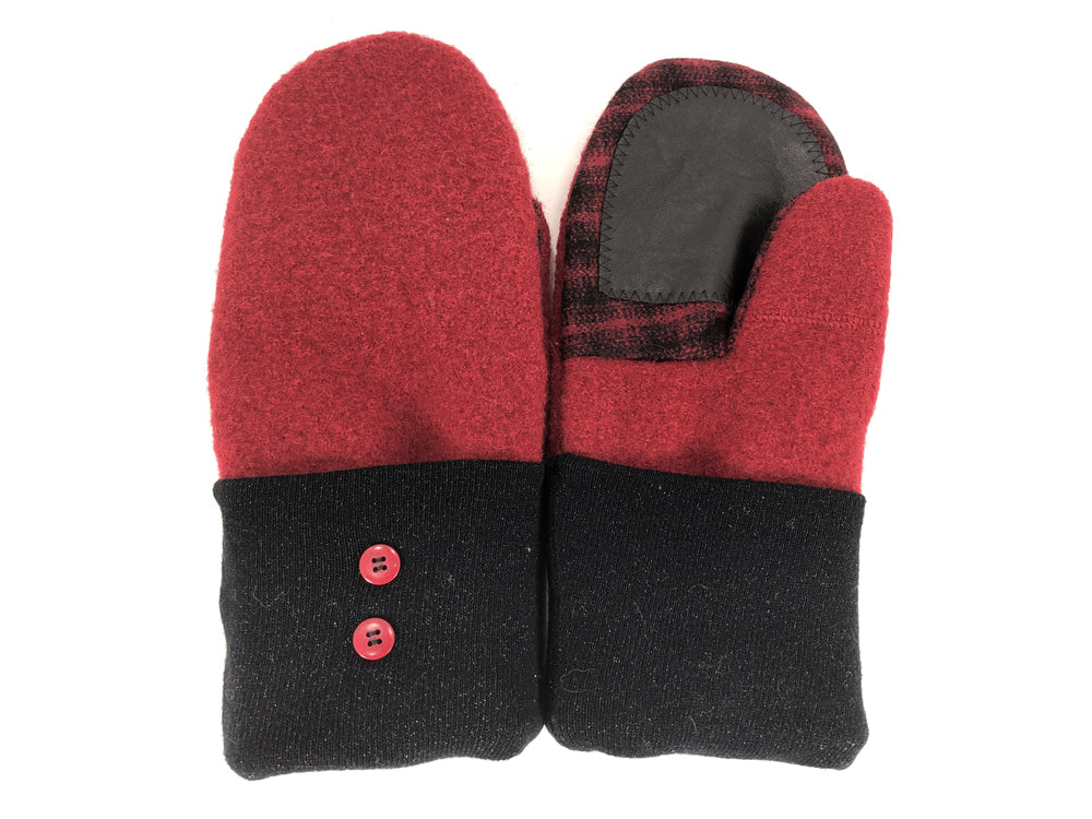 Black-Red Boiled Wool Women's Drivers Mittens - Large - 2295