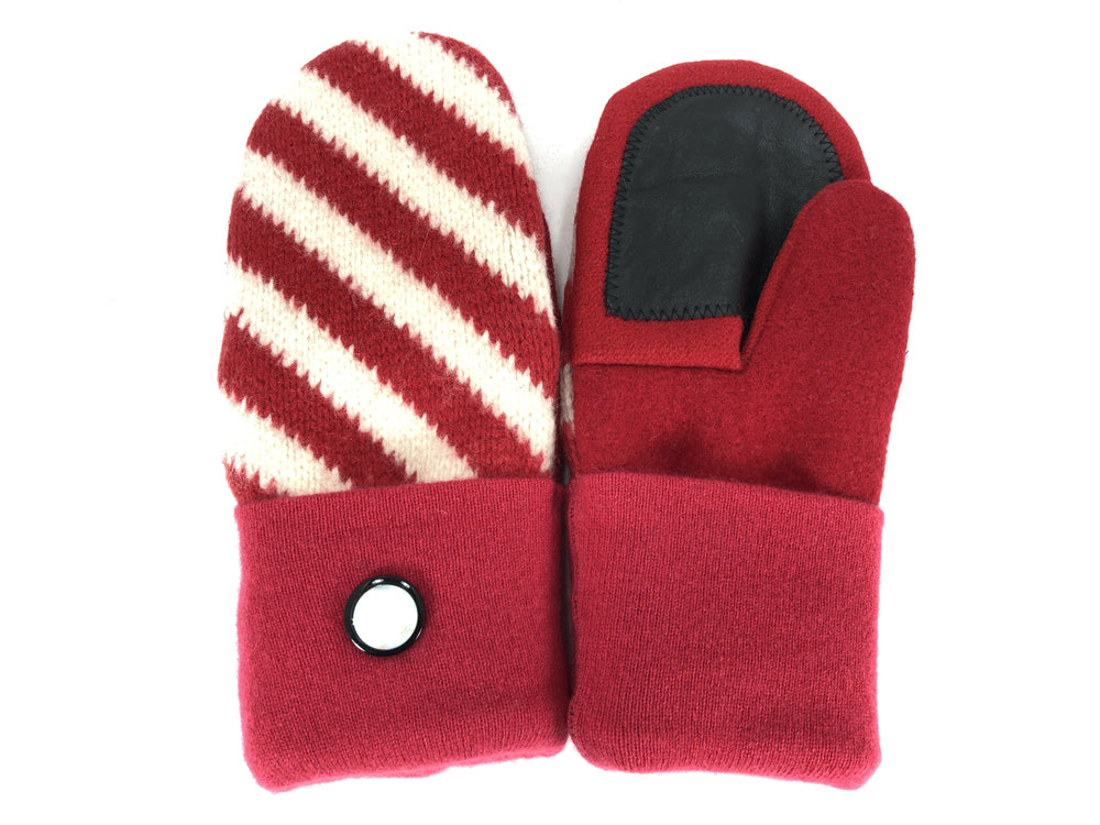 Red-White Boiled Wool Women's Drivers Mittens - Large - 2296-Womens-The Mitten Company