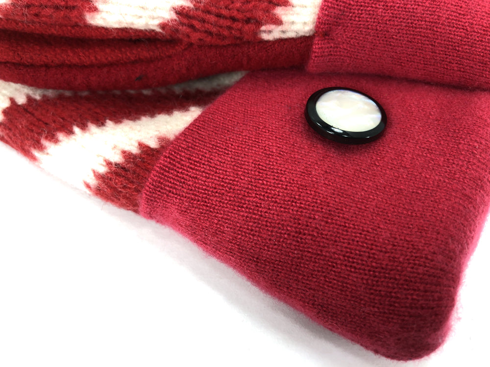Red-White Boiled Wool Women's Drivers Mittens - Large - 2296