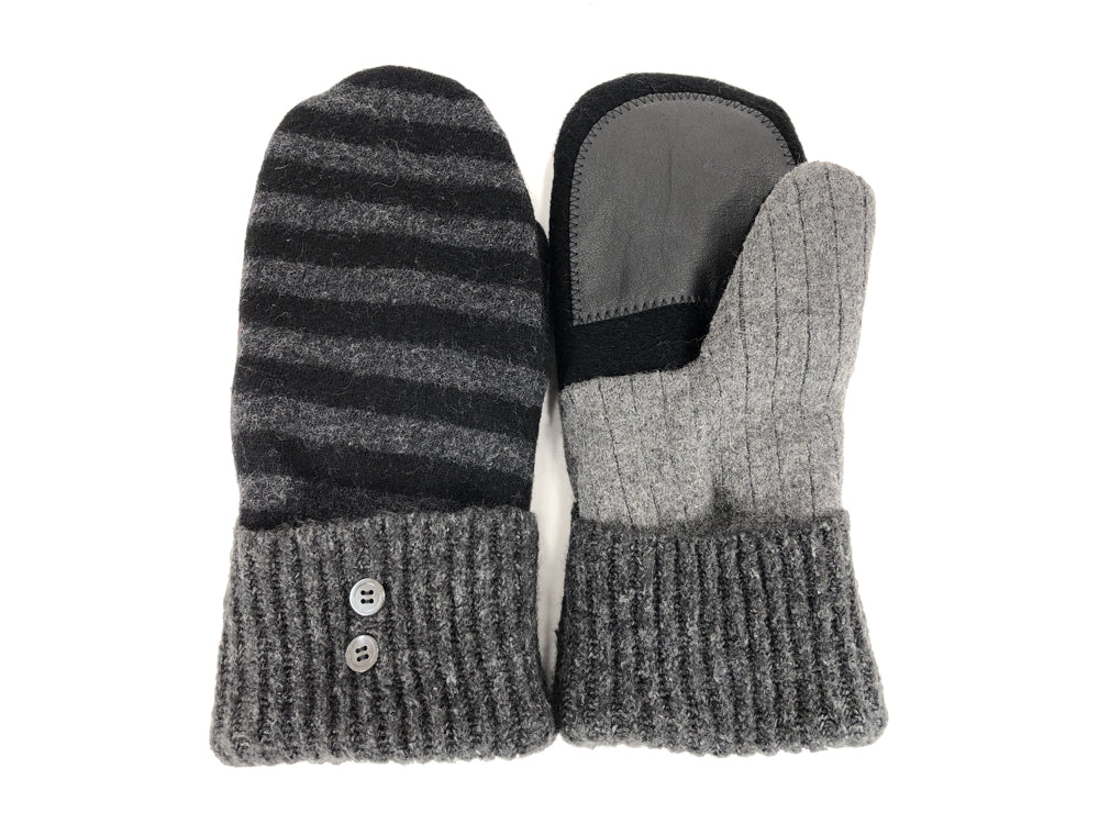 Gray-Black Lambs Wool Women's Drivers Mittens - Large - 2298