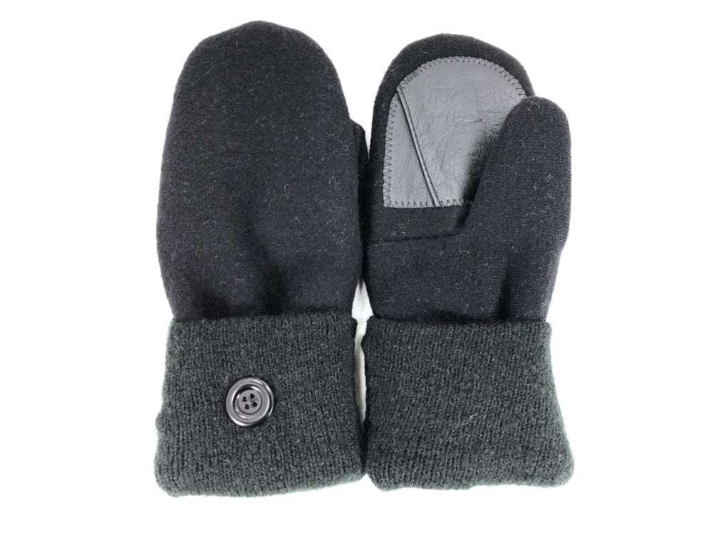 Black-Green Lambs Wool Women's Drivers Mittens - Large - 2299