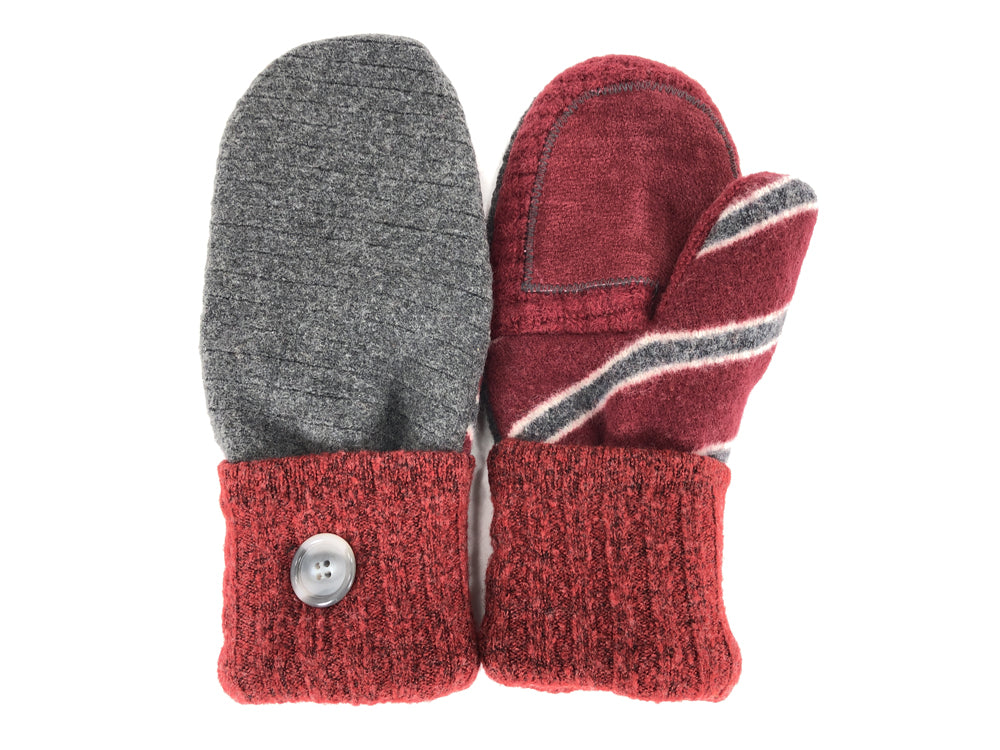 Gray-Red Lambs Wool Women's Drivers Mittens - Large - 2302