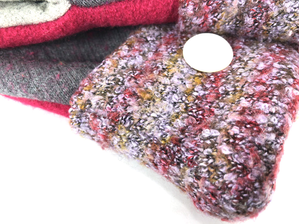 Purple-Gray-Red Lambs Wool Women's Drivers Mittens - Large - 2303