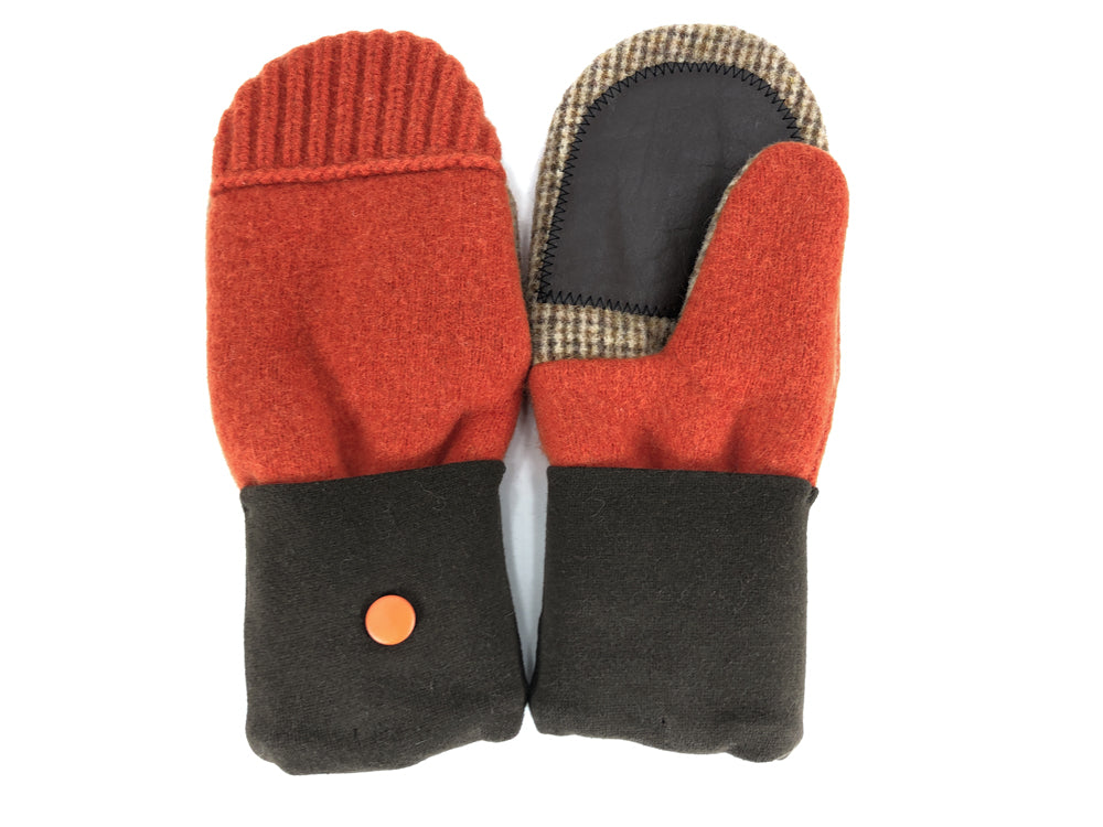 Orange-Brown Lambs Wool Women's Drivers Mittens - Large - 2304