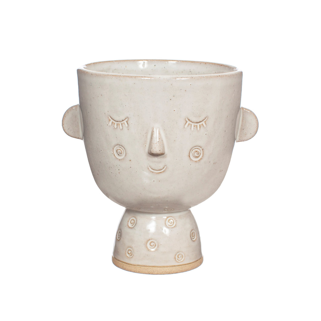 Specked Stoneware Face Planter