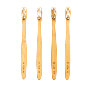 Set of Four Sustainable Bamboo Toothbrushes