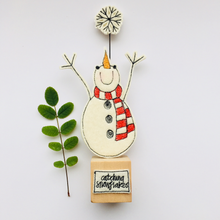 Load image into Gallery viewer, Free Standing Felted Snowman catching Snowflakes