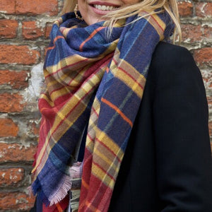 Blue and Red Soft Tartan Scarf