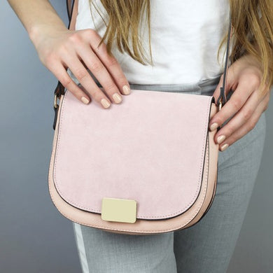 Blush Pink Suede Crossbody Handbag