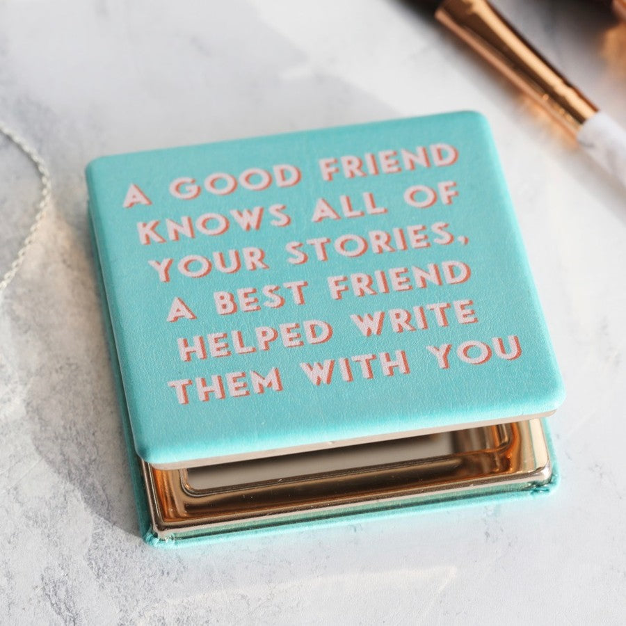 Turquoise Best Friends Compact Mirror