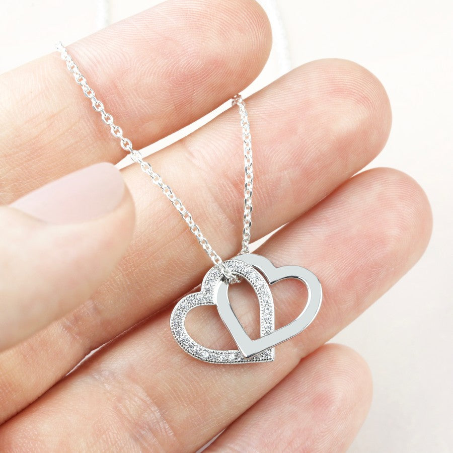 Sterling Silver Interlocking Crystal Hearts Necklace
