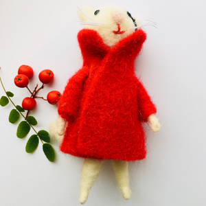 Felted Cat with Dapper Red Coat