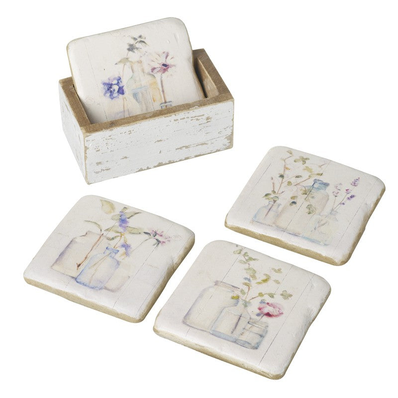 Floral Coaster Set in Rustic Wooden Holder