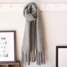 Load image into Gallery viewer, Oversized Grey Tassel Blanket Scarf