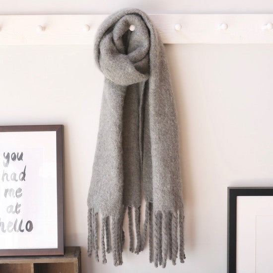 Oversized Grey Tassel Blanket Scarf