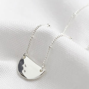 Hammered Half Moon Necklace in Silver