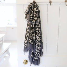 Load image into Gallery viewer, Grey Leopard Print Scarf