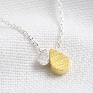 Mother and Child Double Droplet Necklace