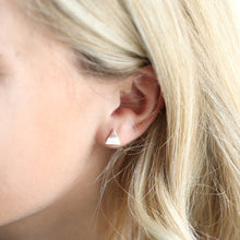 Load image into Gallery viewer, Silver and Rose Gold Dipped Triangle Stud Earrings