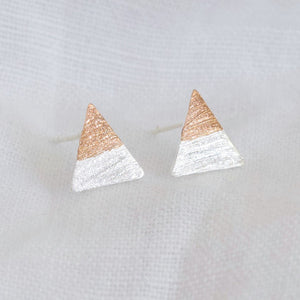 Silver and Rose Gold Dipped Triangle Stud Earrings