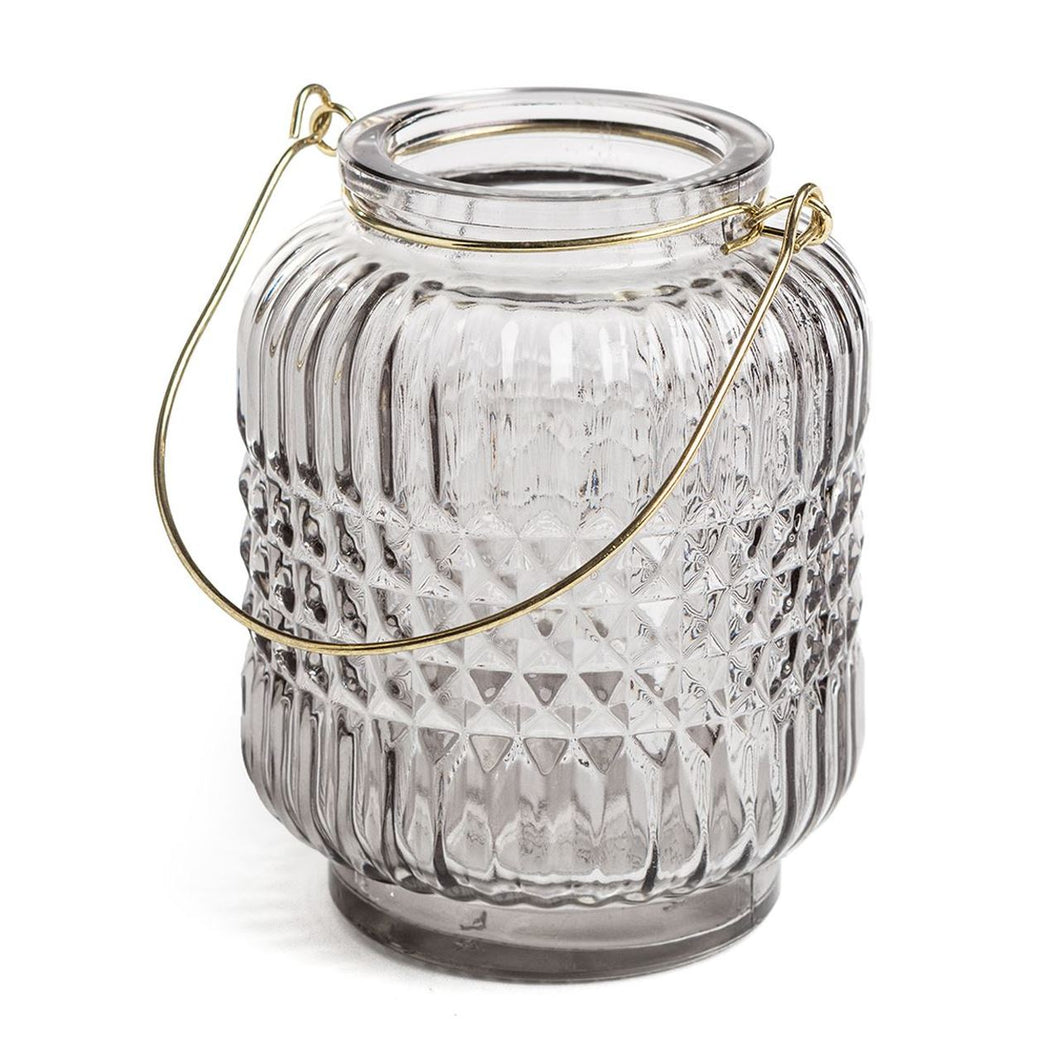 Light Grey Embossed Glass Candle Lantern - The Munro