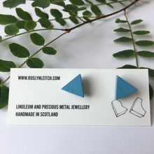 Load image into Gallery viewer, Nordic Blue linoleum tri-trangle stud earrings - The Munro