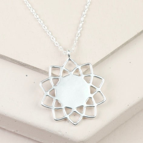 Silver Mandela Flower Necklace - The Munro