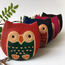 Load image into Gallery viewer, Handprinted Leather Owl Keyring Purse - The Munro