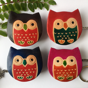 Handprinted Leather Owl Keyring Purse - The Munro