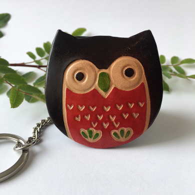 Handprinted Leather Owl Keyring Purse