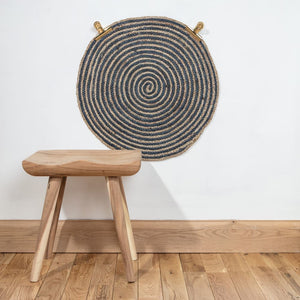 Hand Woven Sand & Blue Braided Jute Round Rug - The Munro