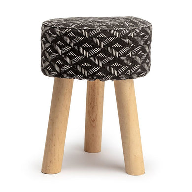 Black Aztec Round Stool - The Munro