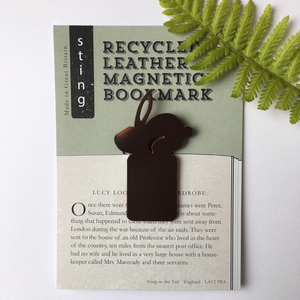 Recycled Brown Leather Magnetic Bookmark