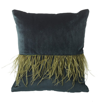Teal Velvet Feather Cushion