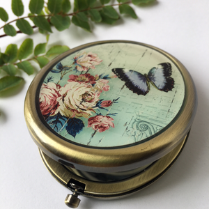 Classic Vintage Oval Butterfly Compact Mirror with Clasp - The Munro