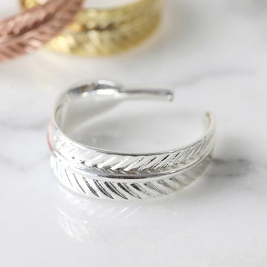 Adjustable Feather Ring in Silver