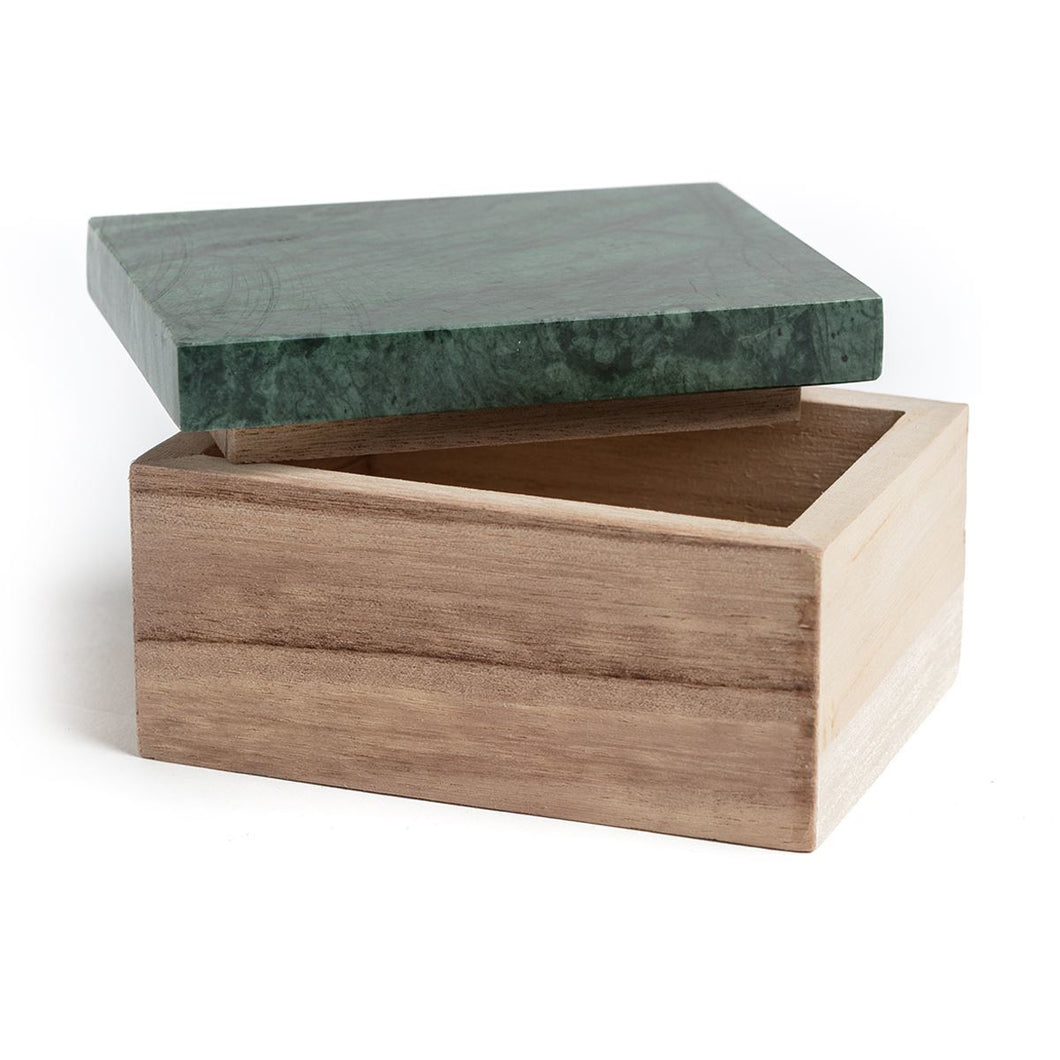 Wooden Jewellery Box with Green Marble Lid