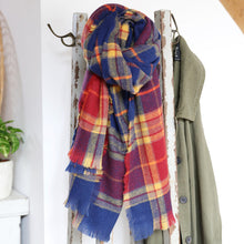 Load image into Gallery viewer, Blue and Red Soft Tartan Scarf