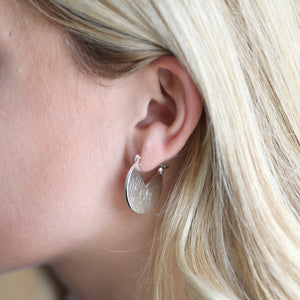 Brushed Silver Triangle Cut Out Hoop Earrings - The Munro