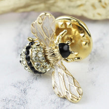 Load image into Gallery viewer, Crystal and Enamel Bumblebee Pin Badge