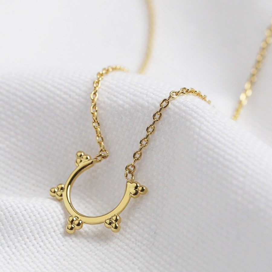 Gold Triple Orb Open Hoop Necklace
