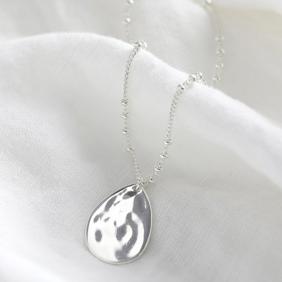 Silver Hammered Teardrop Necklace - The Munro