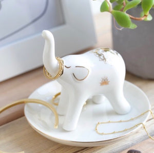 White and Gold Elephant Jewellery Dish