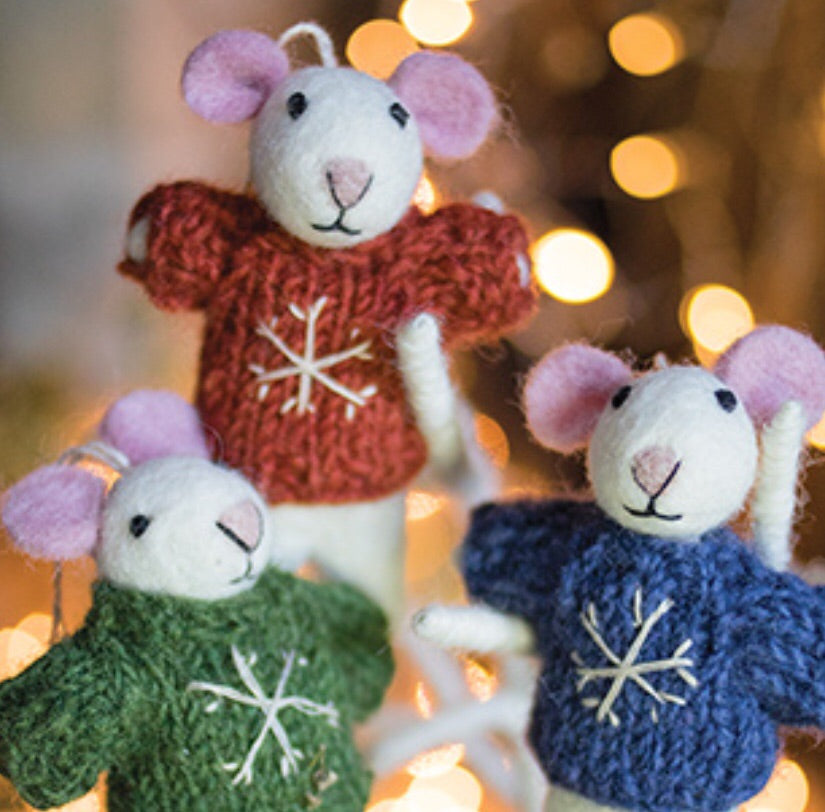 Felt Mouse with Hand Knit Snowflake Jumper
