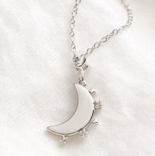 Load image into Gallery viewer, Crystal Edge Moon Pendant Necklace in Silver
