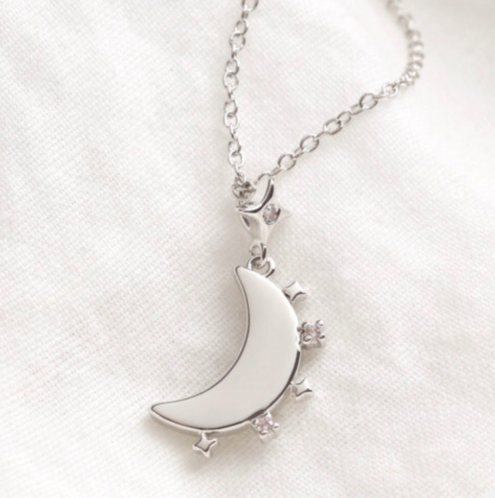 Crystal Edge Moon Pendant Necklace in Silver